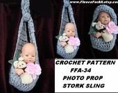 CROCHET PATTERN, stork sling photo prop, diy handmade pattern, instant download, pdf tutorial num. FFA34
