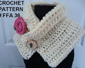 CROCHET PATTERN, shawl collar chunky scarf or cowl, flower, craft supplies, instant download, pdf tutorial handmade patterns, num. FFA36