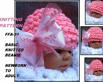 KNITTING PATTERN, basic beanie hat, newborn to adult, pdf digital instant download, number FFA-31,