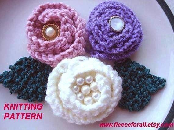 Knitting Roses Easy : Items similar to ff knitting pattern flower very easy