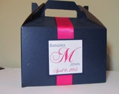 Gable Boxes with ribbon & monogram tag