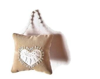 Hanging Pillow/beige velvet white heart