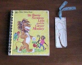 upcycled little golden book journal or guest book with bookmark