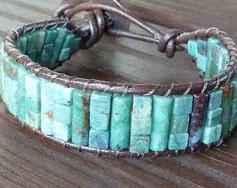 African Jade Cuff Bracelet - Brown Leather Bracelet, Green African Jade Beads