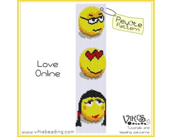 Love Online - Peyote Bracelet / Cuff Pattern  - INSTANT DOWNLOAD pdf -Discount codes are available