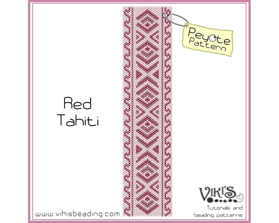Peyote Bracelet Pattern: Red Tahiti - INSTANT DOWNLOAD pdf - New Discount codes