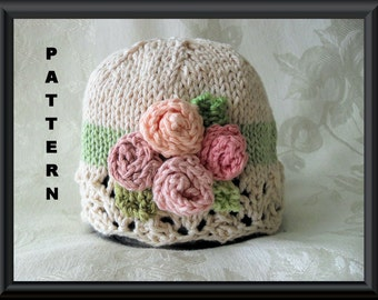 Knitted Hat Pattern Baby Hat Pattern Knitting Pattern for Baby Hat with Ivory Lace Brim and four miniature roses in pastels: ROSIE POSY