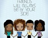 African American Best Friends - Art Print