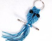 Blue Keychain Macrame Owl