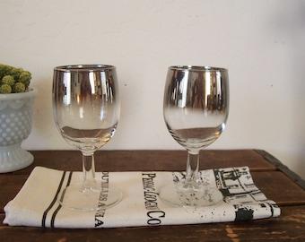 Vintage Silver Rimmed Hombre Wine Glasses