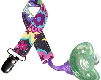 Pacifier Clip Baby Girl - Paisley Spree - Soothie Avent Gumdrop Nuk Mam