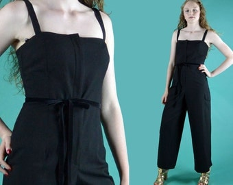 90s Vintage Womens Jumpsuit / Spaghetti Straps Wide Leg Black Jumpsuit / Designer Jumpsuits Women Sleeveless Summer Party Jump Suit S / M