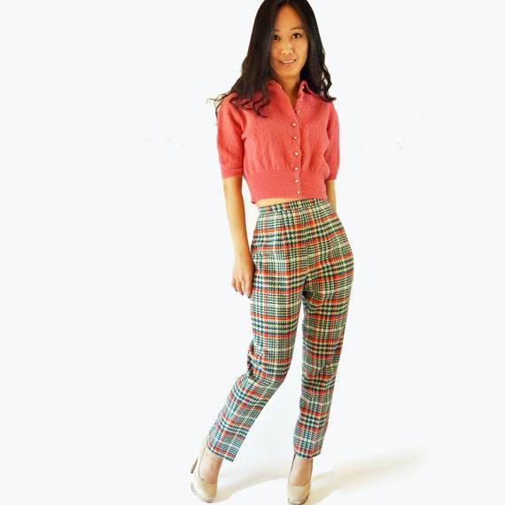 vintage 60s MOD high waisted pants / Plaid Wool Cigarette