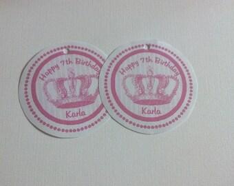 20 Pink Crown Hang Tags