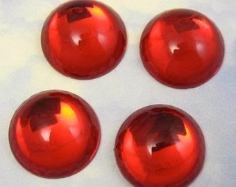 Red Glass Cabochons 4 pcs 18 mm  Red Flatback Vintage Stones S-236