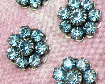 Rhinestone Bead Swarovski Aqua Crystal amethyst rhinestone flower in antique silver setting