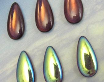 Vintage Glass Teardrop 4 pcs 24x12 Purple AB Stones Cabochon S-314