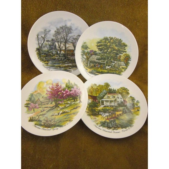 Small Decorative Plates Sets: Small Currier & Ives Four Seasons Decorative Plates Set Of 4