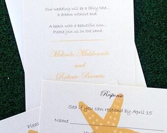 Starfish Wedding Invitation, Gold and Ivory invitation, Beach Invitation, Destination wedding , Seaside invitation