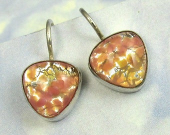 Opal Earrings Sterling Silver Peach Vintage Glass 379
