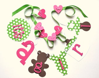 Baby shower decorations, it's a girl banner pink and green polka dots by ParkersPrints on Etsy