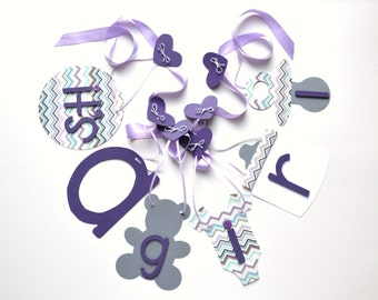 It's a girl banner purple and grey chevron baby shower decorations by ParkersPrints on Etsy