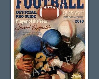 Personalized Football Super Bowl MVP Magazine Cover  Art Print 16x20