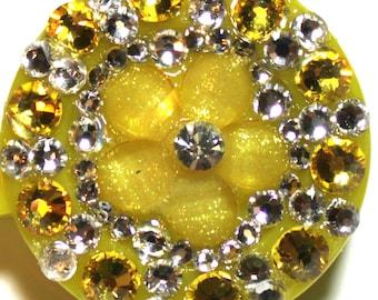 Yellow Flower Swarovski Crystal Embellished ID Badge Reel