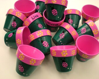 Painted Flower Pots - Kids Party Favors - Kids Names - Seed Planting Party