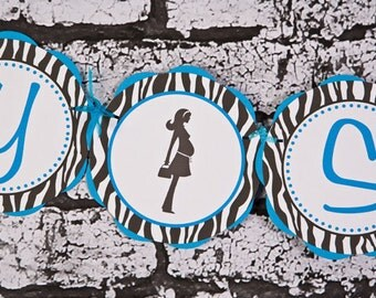 Baby Shower Decorations - BABY SHOWER Banner - Mom to Be Theme - It's a Boy Aqua Blue & Zebra Baby Shower Decorations