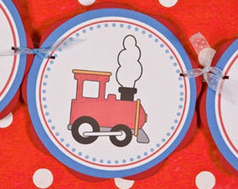 Train Themed IT'S A BOY Baby Shower Banner - Train Baby Shower Decorations in Red and Blue