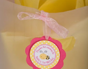 Bee Themed FAVOR TAGS in Yellow and Pink Happy Birthday Party Decorations (12)