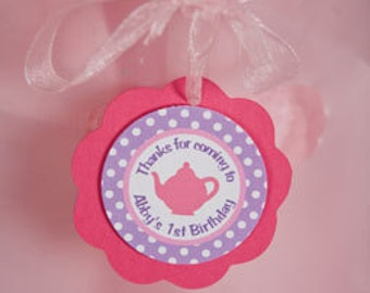 Tea Party Birthday FAVOR TAGS, Happy Birthday Party Decorations - Tea Party Birthday Party - Teapot Birthday in Pink and Purple