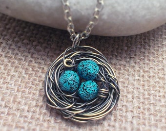 Bird Nest Necklace- Egg Necklace Wire Wrapped Silver Pendant