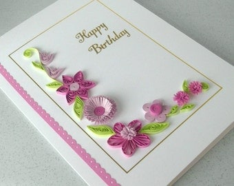 Paper quilling birthday card, handmade