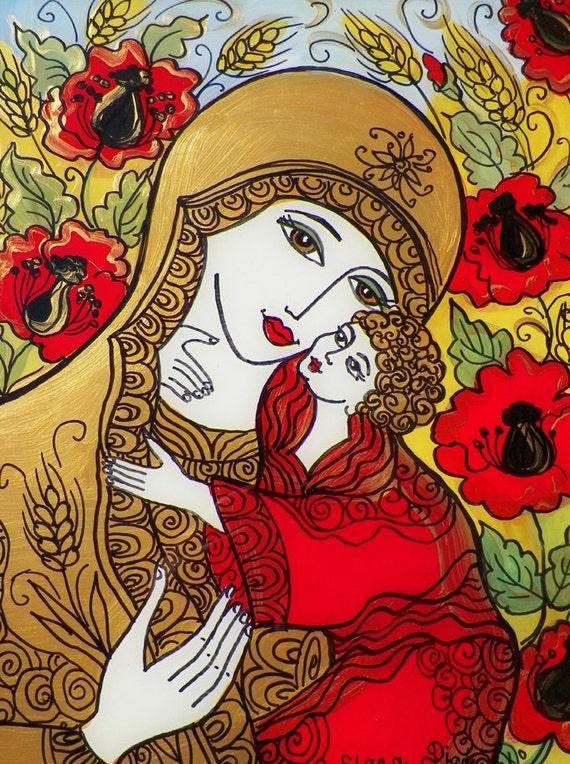 Glass Painting, Ukrainian Madonna