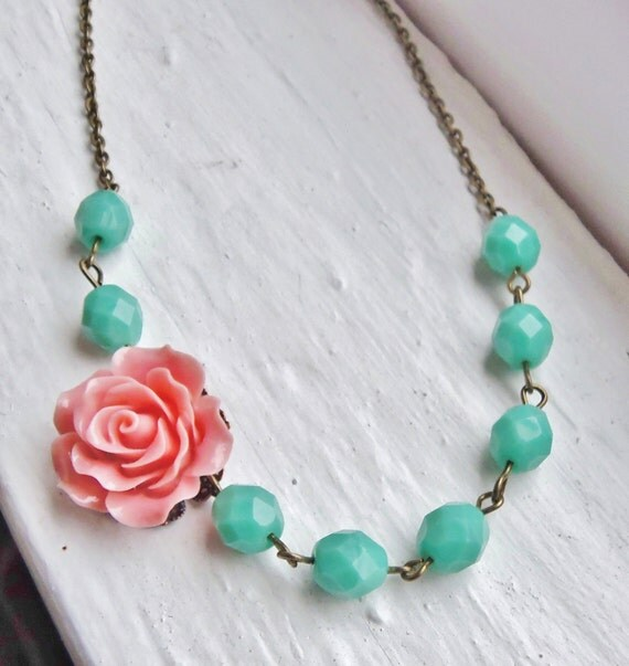 Coral and Mint Flower Necklace. Pink. Salmon. Turquoise. Bridesmaid Necklace. Bridal Jewelry. Rose. Turquoise Necklace. Peach. Green.