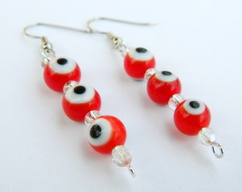 Red Evil Eye Beaded Fashion Dangle Earrings: Protection from Malocchio