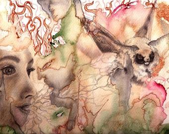 "Art PRINT - ""Gemino"" mixed media on paper"