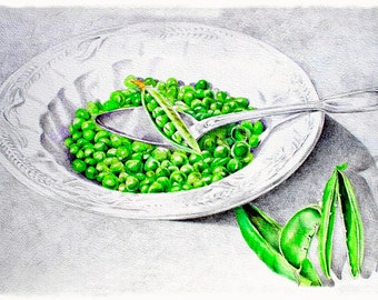 Art Print of Original Watercolor Painting--Pea Soup-- Food Kitchen Art Decor, Food Illustration, kitchen painting, food art