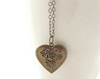 Brass heart locket, locket necklace, heart pendant, flower heart necklace, photo locket, gift for bridesmaids