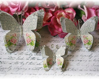Romance Novel Shabby Chic Butterfly Die Cut Embellishments for Scrapbooking, Cardmaking, Tag Art,  Mixed Media, Mini Albums