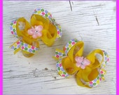 Small Boutique Pig Tail Bows- Set of 2- Flowers & Butterflies- Girls Bows- Toddler Bows