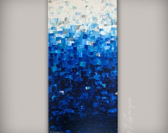 Original painting MADE2ORDER - Large abstract vertical landscape 'Ocean sparkle' by Tat Georgieva.