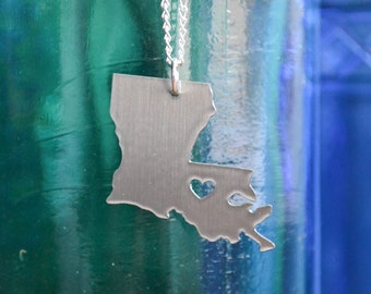 SALE: Baton Rouge Louisiana Love Pendant on 18inch Sterling Silver Chain