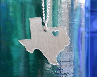 Dallas Texas Love Pendant on 18inch Sterling Silver Chain