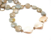 CLEARANCE Aqua Necklace, Cream Mother of Pearl Nugget Mint  Aqua Terra Jasper Necklace Spring Fashion - Mint Cream