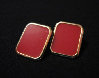 Vintage Square Gold Tone and Red Enameled Pierced Earrings