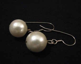 Vintage Silver Tone and White Faux Pearl Ball Dangle Pierced Earrings