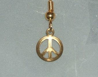 Men's Earrings CLEARANCE! Stamped Brass Small Peace Sign Single Men's Earring